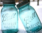 Blue, Pastel, Easter, Spring, Turquoise, Neon, Teal, Kitchen Photography, Home Decor, Country, Blue  Ball Jars, Vintage - 8x10 Print