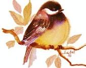 Chickadee Watercolor Painting Bird Print