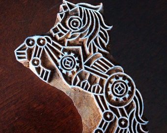 Hand Carved Indian Wood Textile Stamp Block- Steampunk Horse