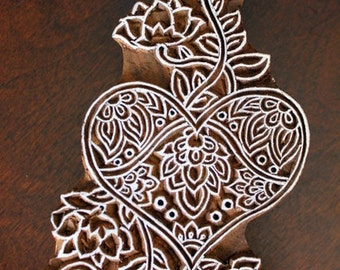 Hand Carved Indian Wood Textile Stamp Block- Heart and Flowers (Reduced)