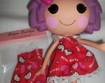 Valentine's Day Doll Clothes Dress for Lalaloopsy Doll Red and White Cotton HELLO KITTY Heart Dress New