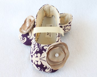 PURPLE DEMASK-Cream, Tan, Nude, Flower, Mary Jane Baby Girl Booties, Soft Soled, Cloth