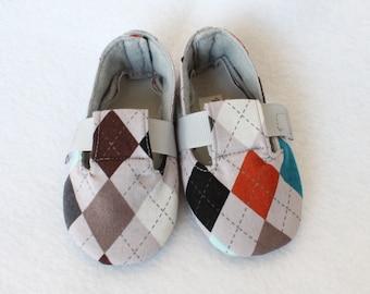 GREY ARGYLE-Orange, Teal, Brown Check Baby Boy Bootie, Soft Sole, Golf, Toddler, Cloth