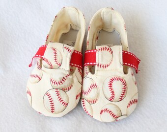 LIL SLUGGER-Baseball, Novelty, Red, White Baby Boy Fabric, Cloth Bootie Toddler