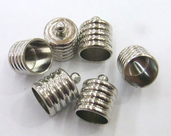 12x15mm Connector Cord End Tube Silver Tone Hole Size 10mm Lot 20 Loose Beads 5930 Wholesale Clasp Finding Bulk Jewelry Supply