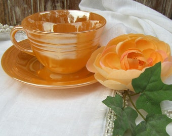 Vintage Anchor Hocking Fire King Peach Lustre Three Bands Cup & Saucer FireKing - #2169