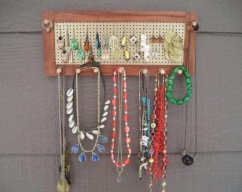 Horizontal jewelry organizer with gold screen - earring holder - jewelry holder - sustainably harvested African wood - bubinga