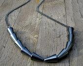 SALE 20% Hematite geometric necklace - Metallic spikes