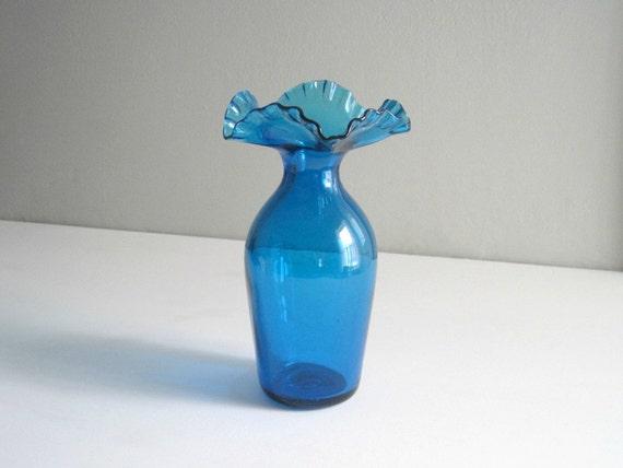 Mid-Century Blenko Blue Glass Vase