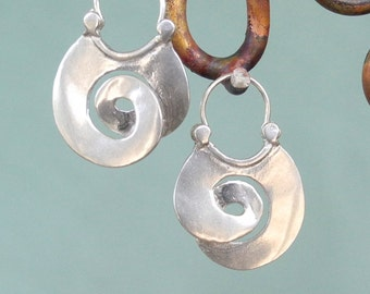 Smaller Plain Curl Earrings - Hoop-style - sterling