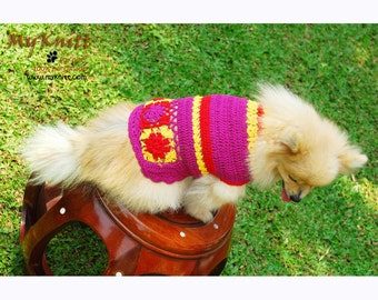 Pink Fuchsia Dog Clothes XXS Handmade Crochet Cotton Puppy Sweater with Flower Pet Clothing DK833 Myknitt - Free Shipping
