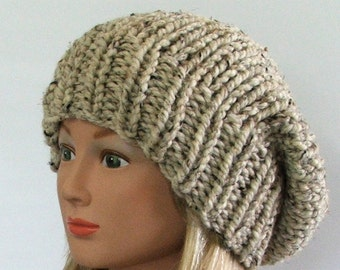 Made to Order - Chunky Knit Barley Slouchy Beret Hat