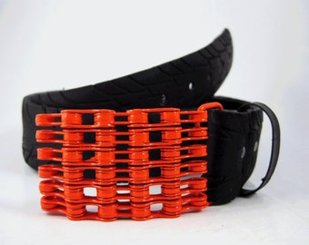 Recycled Bike Chain Belt Buckle- Curved- Orange Finish