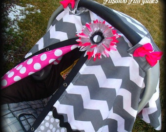 Carseat Canopy Chevron with Hot Dots Choose FLOWER or BUTTON