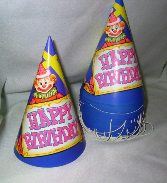 5 Vintage Birthday Party Hats Purple Clown By TheVintageEvent
