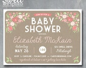 Sweet Pink Shabby Chic Rustic Floral & Kraft DIY Printable Baby or Bridal Shower Invitation 5x7 format - custom text