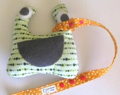 Sophie TOY LEASH Sippy Saver Toy Tether, For Baby Carriers Strollers, Orange White Polka Dot Ready to Ship