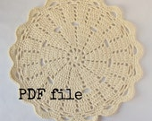 Doily rug PDF crochet pattern for T-shirt yarn / tarn - 90cm / 3ft