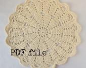 Doily rug PDF crochet pattern for T-shirt yarn / tarn - 90cm / 3ft