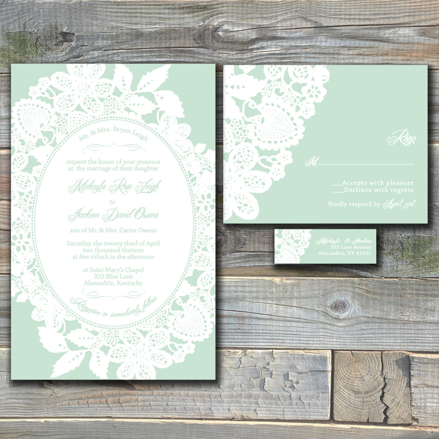 lace wedding invitation suite mint green custom wedding