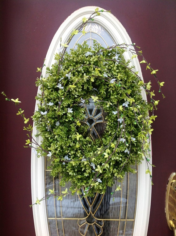 "RESERVED LISTING Spring Wreath Summer Wreath Grapevine Oval Door Wreath Decor...Use All Year Round...""Eternity"""