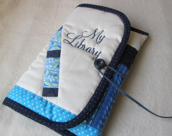 Ereader Cover with Blue Books on a Shelf