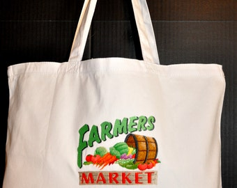 Canvas Embroidered Market Tote- One of a Kind