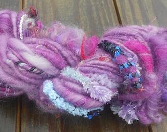 Handspun Yarn, Handspun Art Yarn, Pretty in Purple, Bulky Yarn, 50 yards