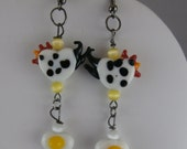Lampwork Glass Black and White Chicken and Egg Dangle Earrings