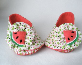 Baby Shoes, Girls Hand Stitched Watermelon Booties,  Hand Sewn Baby Shoes,  White Cotton,  Pink and Green Print,  Ruffle