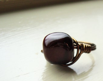 Deep Red Wire-Wrapped Ring