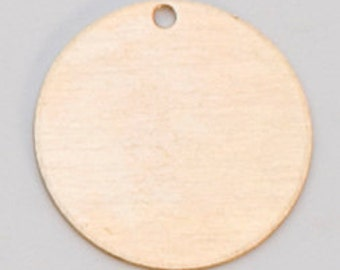 "1/2"" Round Solid Brass Discs with HOLE - 24g.  Pack of 6 - Hand Stamping Blank - Hand Stamped Jewelry Blank"
