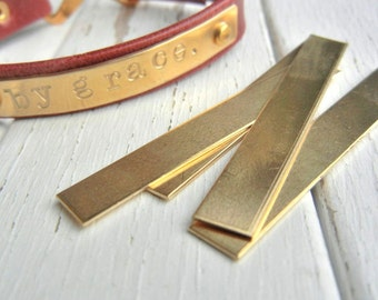 """BRASS BAR Blank - 1/4"""" x 2"""" Metal Blank for Hand Stamped Jewelry- Use on Leather Cuffs or Bar Bracelets - Bar Necklaces- 22gauge - 12 Pack"""