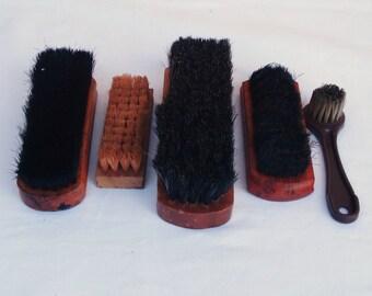 Vintage Set Of Shoe Shine Box Brushes.