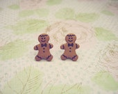 Christmas Ginger Man Earrings, Ginger Men Earrings, Buttons Earrings, Christmas Earrings, Christmas Jewelry