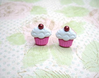 Pink White Muffin Earrings, Muffin Jewelry, Cup Cake Post Earrings