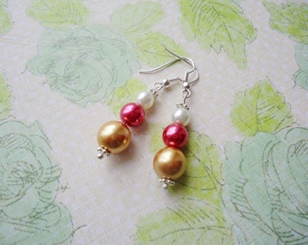 White Pink Golden Yellow Glass Pearl Earring,  Glass Pearl Jewelry