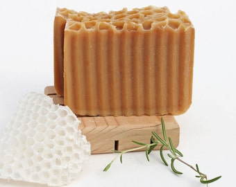 Rosemary Cedarwood Honeycomb Cold Processed Soap, made with beeswax, honey from my hives, organic oils