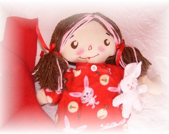 "Cloth Rag Doll Handmade Raggedy Ann  Bunny's her name  15"""