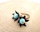 pinwheel earrings - amazonite, oxidized brass