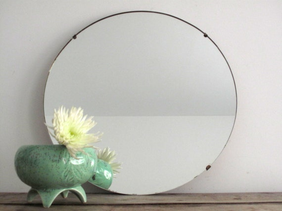 RESERVED Vintage Wall Mirror Round Frameless by ...