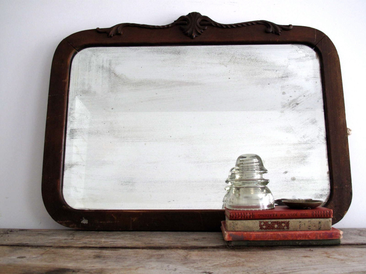Antique Wood Frame Wall Mirror Vintage Art by SnapshotVintage