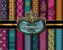 Digital Paper Royal Colors Damask Digital Paper Pack 16 Scrapbooking Background 8.5 X 11 Inches 300 dpi, INSTANT DOWNLOAD