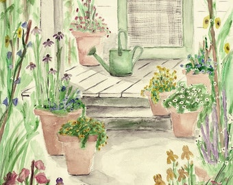 Print of Original Watercolor Painting, Garden Porch, landscape painting, watercolor art, summer flowers, summer watercolor, summer garden