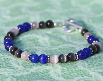 Black, Blue, and Lavender Cats Eye Bracelet with Heart Toggle Clasp