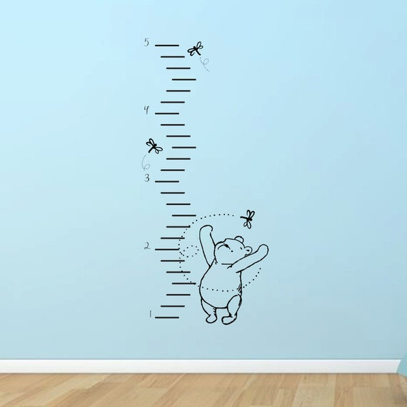 Classic winnie the pooh growth chart vinyl wall by for Classic pooh wall mural