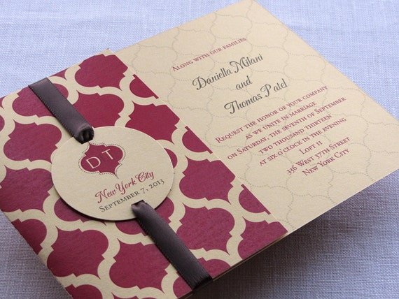 Indian Monogram Party Invitation - Indian Arch with Enclosures Booklet
