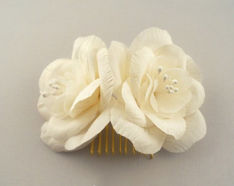 Silk Dupioni Bridal Flower Comb, Gold Wedding Hair Accessories, Ivory Bridal Hair Flowers, Bridal Headpiece, Bridal Hairpiece, Vintage Style