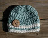 Cute as a Button Beanie, newborn 0-3 month size