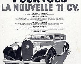 Art Deco Vintage French Ad - Hotchkiss  Automobile 1933
